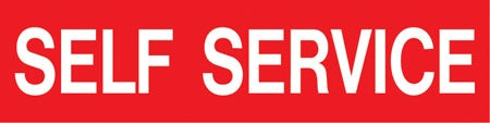 "Pump Decal- White on Red, ""Self Service"""