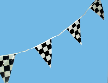 Checkered Pennants- on a 100' String