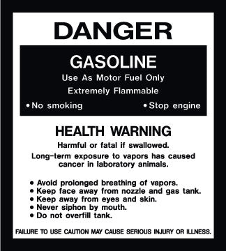 "Decal- ""Danger Gas Health Warning"""