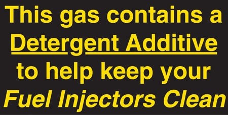 "Decal- ""Gas Contains Detergent Additive"""