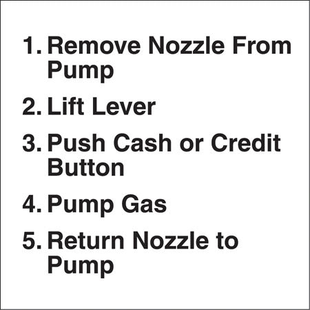 "Decal- ""Pump Instructions"""
