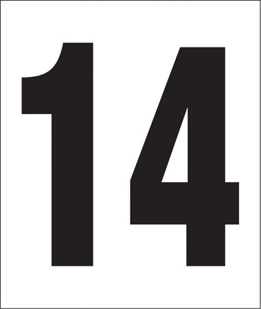 "Pump Decal- Black on White, ""Number 14"""
