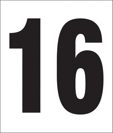 "Pump Decal- Black on White, ""Number 16"""