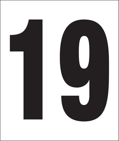 "Pump Decal- Black on White, ""Number 19"""