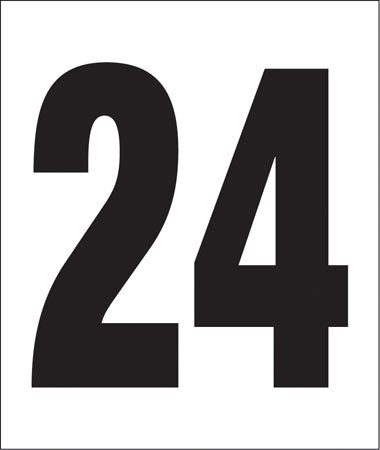 "Pump Decal- Black on White, ""Number 24"""