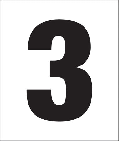 "Pump Decal- Black on White, ""Number 3"""