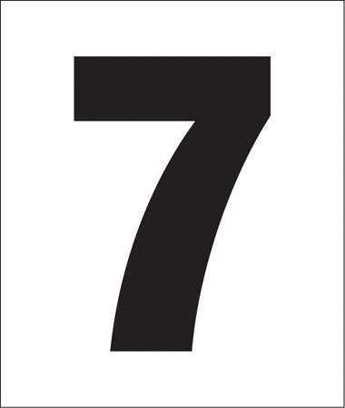 "Pump Decal- Black on White, ""Number 7"""