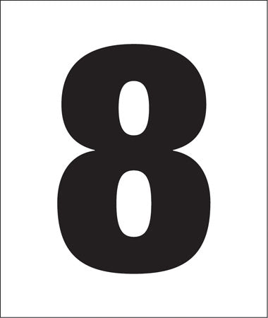 "Pump Decal- Black on White, "" Number 8"""