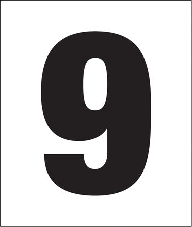 "Pump Decal- Black on White, ""Number 9"""