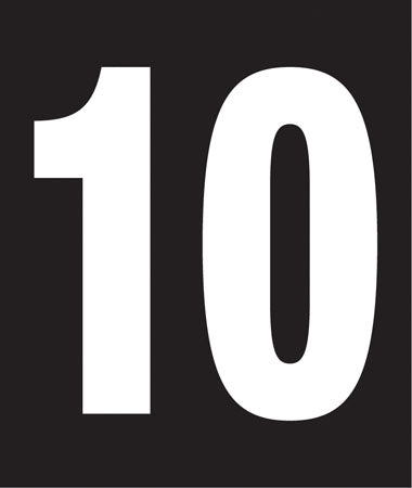 "Pump Decal- White on Black, ""Number 10"""