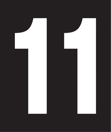"Pump Decal- White on Black, ""Number 11"""