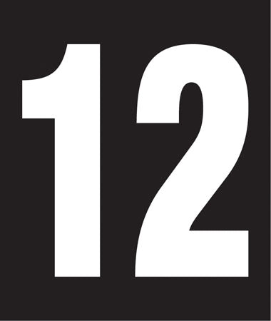 "Pump Decal- White on Black, ""Number 12"""