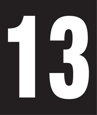 "Pump Decal- White on Black, ""Number 13"""