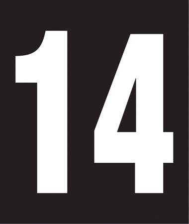 "Pump Decal- White on Black, ""Number 14"""