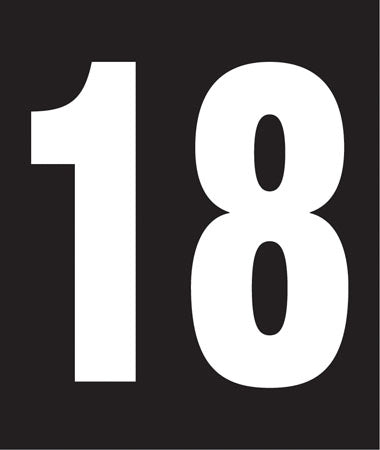 "Pump Decal- White on Black, ""Number 18"""