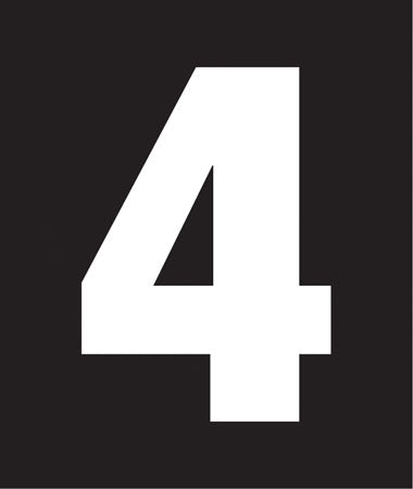 "Pump Decal- White on Black, ""Number 4"""