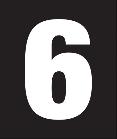 "Pump Decal- White on Black, ""Number 6"""