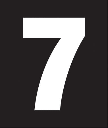 "Pump Decal- White on Black, ""Number 7"""