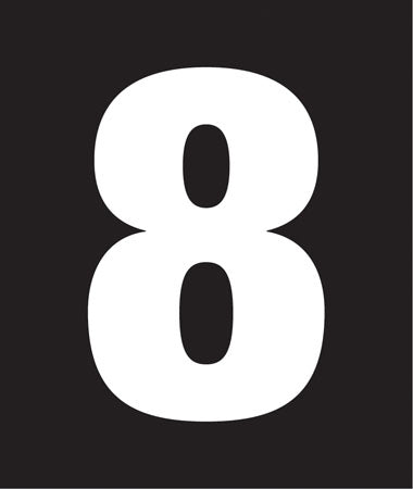 "Pump Decal- White on Black, ""Number 8"""