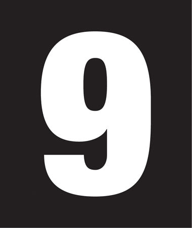 "Pump Decal- White on Black, ""Number 9"""
