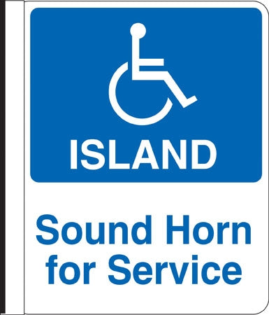 "16""w x 18""h"" Side Mount Pole Sign- ""Handicap Island"""