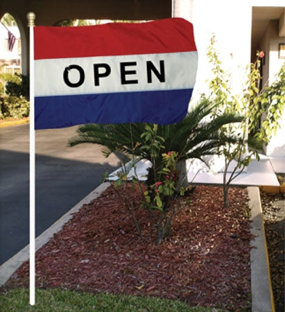 "5'w x 3'h ""Open"" Flag- Red, White & Blue"