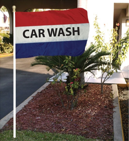 "5'w x 3'h ""Carwash"" Flag- Red, White & Blue"