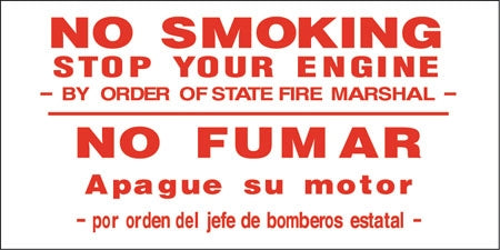 "Bilingual ""No Smoking Stop Your Engine"" Decal"