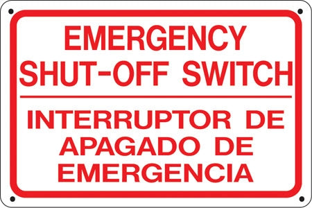 "Bilingual Sign- ""Emergency Shut Off"""