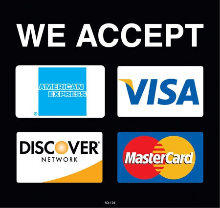 "We Accept Credit Cards- 9.375"" x 8.75"" Insert"