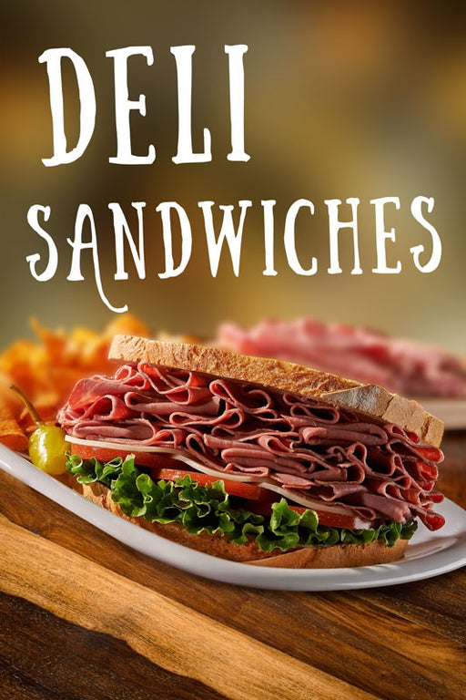 "7.5 mil Heavy Duty Reusable Static Cling Sign ""DELI SANDWICHES"""
