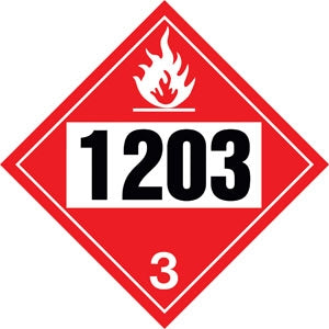 "10.75"" Square Truck Placard- ""1203"" Gasoline Class 3"