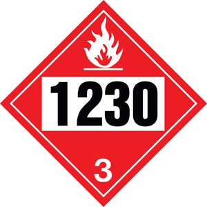 "10.75"" Square Truck Placard- ""1230"" Methanol Class 3"