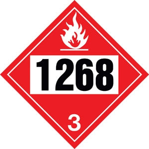 "10.75"" Square Truck Placard- ""1268"" Petroleum Distillates Class 3"