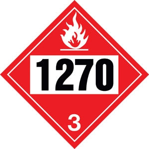 "10.75"" Square Truck Placard- ""1270"" Petroleum Oil Class 3"