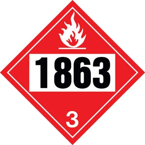 "10.75"" Square Truck Placard- ""1863"" Aviation Fuel Class 3"