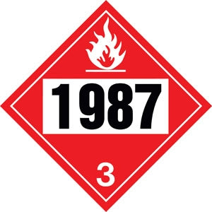 "10.75"" Square Truck Placard- ""1987"" Denatured Alcohol Class 3"