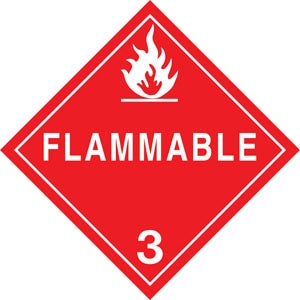 "10.75"" Square Truck Placard- ""Flammable"" Class 3"