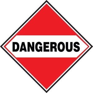 "10.75"" Square Truck Placard- ""Dangerous"""