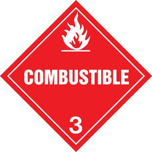 "10.75"" Square Truck Placard- ""Combustible"" Class 3"