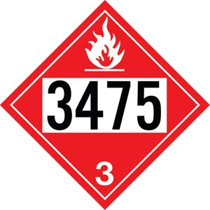 "10.75"" Square Truck Placard- ""3475"" Class 3 Ethanol And Gasoline Mixtures"