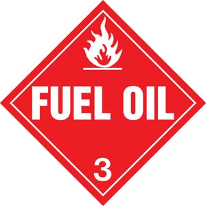 "10.75"" Square Truck Placard- ""Fuel Oil"" Class 3"