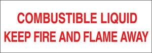 "Combustible Liquid Keep Fire and Flame Away- 27""w x 9""h Truck Decal"