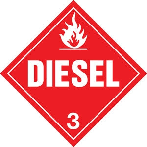 "10.75"" Square Truck Placard- ""Diesel"" Class 3"