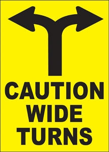 "Caution Wide Turns- 13.75""w x 9.5""h Truck Decal"