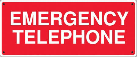 """Emergency Telephone"" Aluminum Sign, 24""w x 12""h, Red on White"