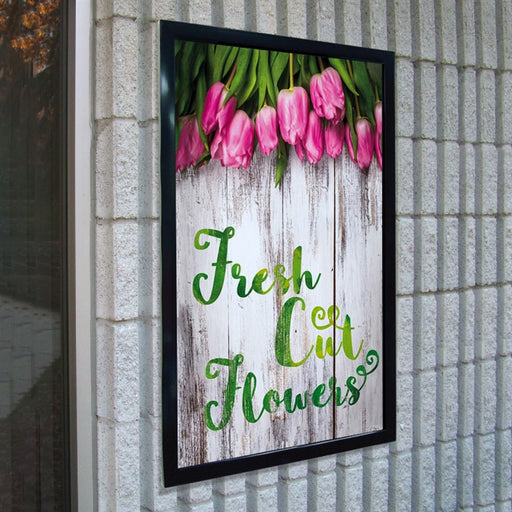 "Wall Mounted United Wind Frame with 28 x 44 ""Fresh Cut Flowers"" Insert"