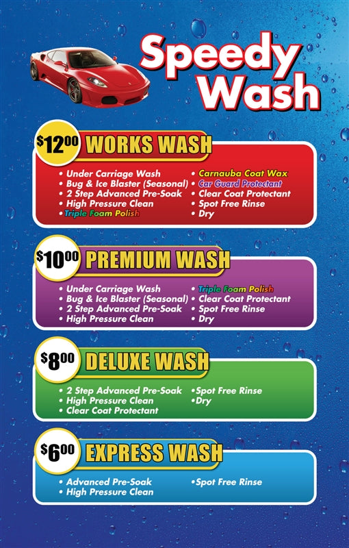 Speedy Wash- Windmaster Menu Insert