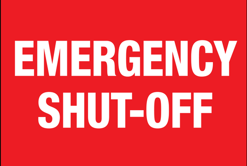 "Aluminum Sign- ""Emergency Shut-Off """