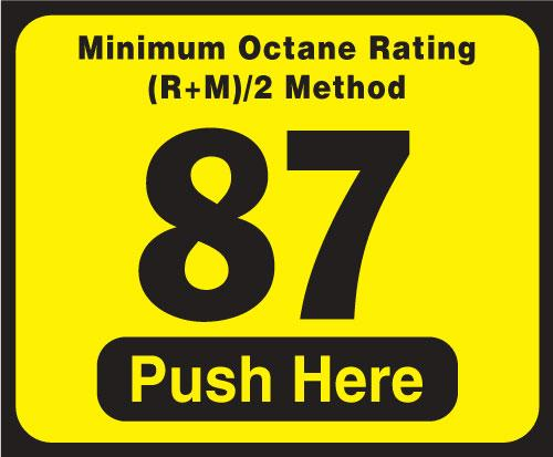 Wayne Vista Octane Rating Decal 87